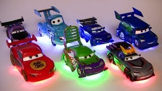 getlinkyoutube.com-Light Up Deluxe Die-Cast Set Tuners DJ WIngo Lightning McQueen Mater Disney Pixar Cars Toons Toys