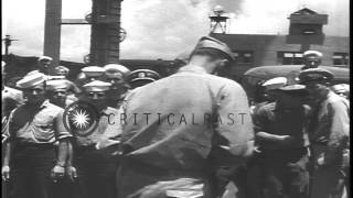 getlinkyoutube.com-Officers and sailors discussing and examining confiscated gear at Pearl Harbor in...HD Stock Footage