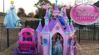 getlinkyoutube.com-Disney Princess Castle Carriage Tea Party Elsa Anna Cinderella Rapunzel
