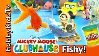 Mickey Mouse Dives in Fish Tank! Surprise Sea Eggs: Ariel SpongeBob HobbyKidsTV