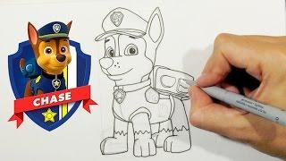 getlinkyoutube.com-Como desenhar o Chase da Patrulha Canina - Personagens do desenho Pata de Patrulha