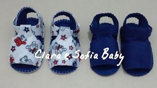 getlinkyoutube.com-Como fazer sandália unissex para bebês em feltro a mão