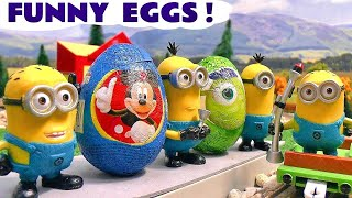 getlinkyoutube.com-Funny Minions Play Doh Thomas The Train Kinder Surprise Eggs Frozen Disney Mickey Mouse Play-Doh