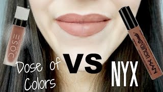 getlinkyoutube.com-NYX Suede Lipstick VS Dose of Colors Matte Lipstick | Half/Half Review
