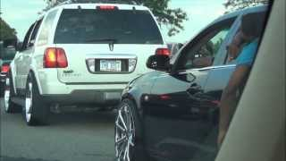 lincoln Navigator on 28s and sts cadillac on 24s on the Detroit strip of belle isle stunnin sunday