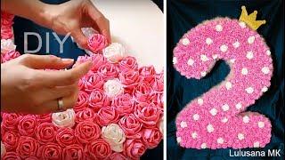 getlinkyoutube.com-Объемная цифра из гофрированной бумаги с цветами на день рождения. Мастер класс