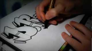 Graffiti Sur Papier 3D Apprendre Le Tag Sketch Action DR Crew Speed Art 2012 Nozer