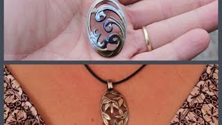 getlinkyoutube.com-DIY pendant. Carving Necklace from teaspoon with Dremel rotary tool