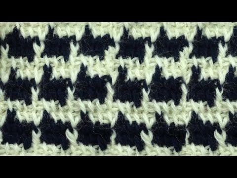 Красивый двухцветный жаккард  Tunisian crochet pattern 57