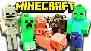 getlinkyoutube.com-Minecraft Hangers 10 Blind Bags Creeper Zombie Skeleton & Breeding Pigs Toy Review