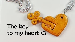 getlinkyoutube.com-The key to my heart - cute and very simple romantic charm - polymer clay TUTORIAL