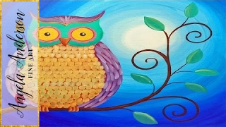 getlinkyoutube.com-Easy Owl Acrylic Painting Beginner Tutorial | Live Full Length Online Class | Free Art Lesson