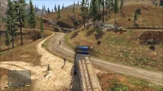 getlinkyoutube.com-Grand Theft Auto 5 - Truck - Wood Logs Trailer Gameplay [HD]