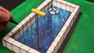 getlinkyoutube.com-How to Draw a 3d Illusion: Anamorphic Pool