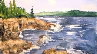 getlinkyoutube.com-Coastal landscape one brush watercolor tutorail