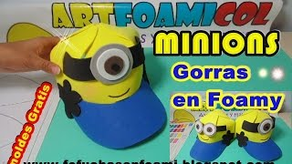getlinkyoutube.com-LOS MINIONS GORRAS EN FOAMY SUPER FACIL CON MOLDES