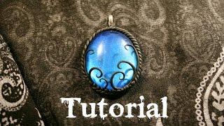 getlinkyoutube.com-Azure Fantasy/Gothic Polymer Clay Pendant | Velvetorium | 軟陶, Полимерная Глина, Arcilla Polimérica.