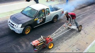 getlinkyoutube.com-Kubota FARM TRACTOR owned MITSUBISHI PICKUP TRUCK in Drag Racing !!!