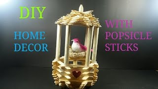 DIY# HOME DECOR WITH POPSICLE STICKS/ HOW TO MAKE/ CWM# 11