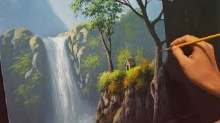 getlinkyoutube.com-Acrylic Landscape Painting Lesson - House Beside the Waterfalls by JMLisondra