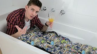 getlinkyoutube.com-Taking A Bath In Pokemon Cards | 200,000 Subscribers!