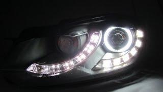 getlinkyoutube.com-Golf 6 MK6 08-12 CCFL Angel-Eye Projector HEADLIGHT LED DRL R8 Black for VW