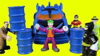 getlinkyoutube.com-Imaginext The Batmobile & Villians With Batman Robin Joker Two Face Riddler Fisher Price