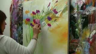 getlinkyoutube.com-Abstract floral painting Demo time lapse / Abstraktes Blumenbild in Acryl  Zacher-Finet