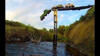 getlinkyoutube.com-Lego train crash at a REAL waterfall ...
