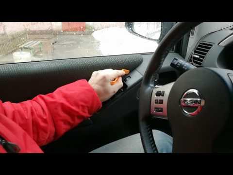 Nissan Pathfinder R51 снятие водительского блока управления стеклоподъемниками.