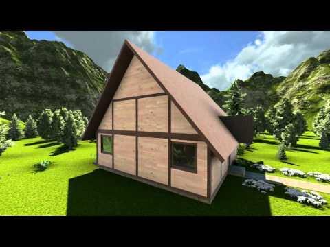 MODEL A-08, Interesantna vikendica, kuća za odmor, P = 79 m2