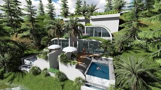 getlinkyoutube.com-Sketchup Drawing Modern hill villa and Lumion render