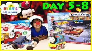 getlinkyoutube.com-SURPRISE TOYS for Kids Christmas Thomas Trains Disney Hot Wheels Toy Cars Advent Calendar Day 5-8