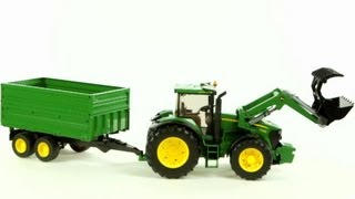 getlinkyoutube.com-John Deere 7930 Tractor and Tandem Axle Tipping Trailer (Bruder 03055) - Muffin Songs' Toy Review