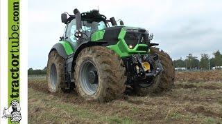 getlinkyoutube.com-Deutz-Fahr Agrotron 9340 TTV bei der Tiefenlockerung nach 70 mm Regen auf Lehmboden