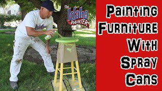 DIY Furniture Painting.  Painting Household Furniture With Spray Paint Cans.