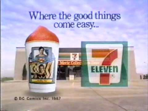 1987 7 Eleven Commercial: Super Slurpee With Superman IV Movie Collectors Cups