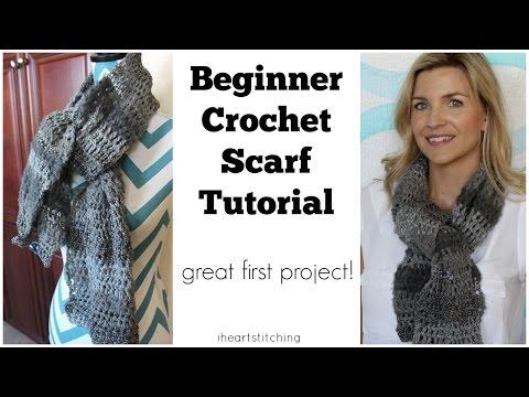 Beginner Crochet Scarf Tutorial - Great FIRST Project!