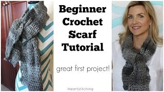 getlinkyoutube.com-Beginner Crochet Scarf Tutorial - Great FIRST Project!