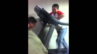 getlinkyoutube.com-Kid's pants fall down on treadmill :P
