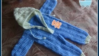 getlinkyoutube.com-Комбинезон для малыша 0-6 месяцев крючком. Часть 1. Jumpsuit for baby 0-6 months crocheted.
