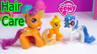 getlinkyoutube.com-MLP Collection Hair Care Tips on Mcdonald's My Little Pony AppleJack DJ Pon 3 Scootaloo Toys