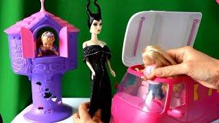 getlinkyoutube.com-Барби, Малефисента, Челси и Рапунцель эдут на пикник в трейлере серия 49 Видео с куклами