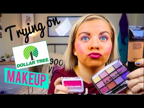 TRYING ON DOLLAR TREE MAKEUP! - Oh My. // SoCassie