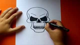 getlinkyoutube.com-Como dibujar una calavera paso a paso  | How to draw a skull