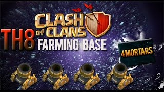 getlinkyoutube.com-Clash of Clans - TH8 Farming Base | 4 MORTARS |