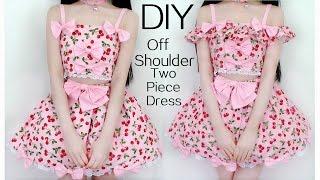 getlinkyoutube.com-DIY Off Shoulder(Detachable) Two-Piece Cherry Dress