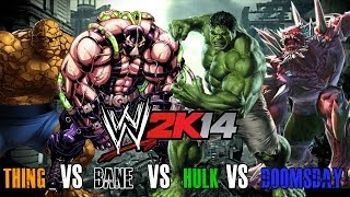 getlinkyoutube.com-WWE 2K14 S1E4 - Thing VS Bane VS Hulk VS Doomsday (Steel Cage)