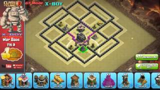 [TH 9 #2] War Base TH 9 with 2 double giant bomb,