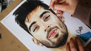 Time lapse drawing (Zayn Malik) portrait in watercolors & colored pencils by Dalida22192
